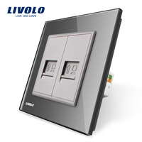 Manufacture Livolo Grey Crystal Glass Panel 2 Gangs Computer Socket Wall Outlet Plug Socket VL C792C