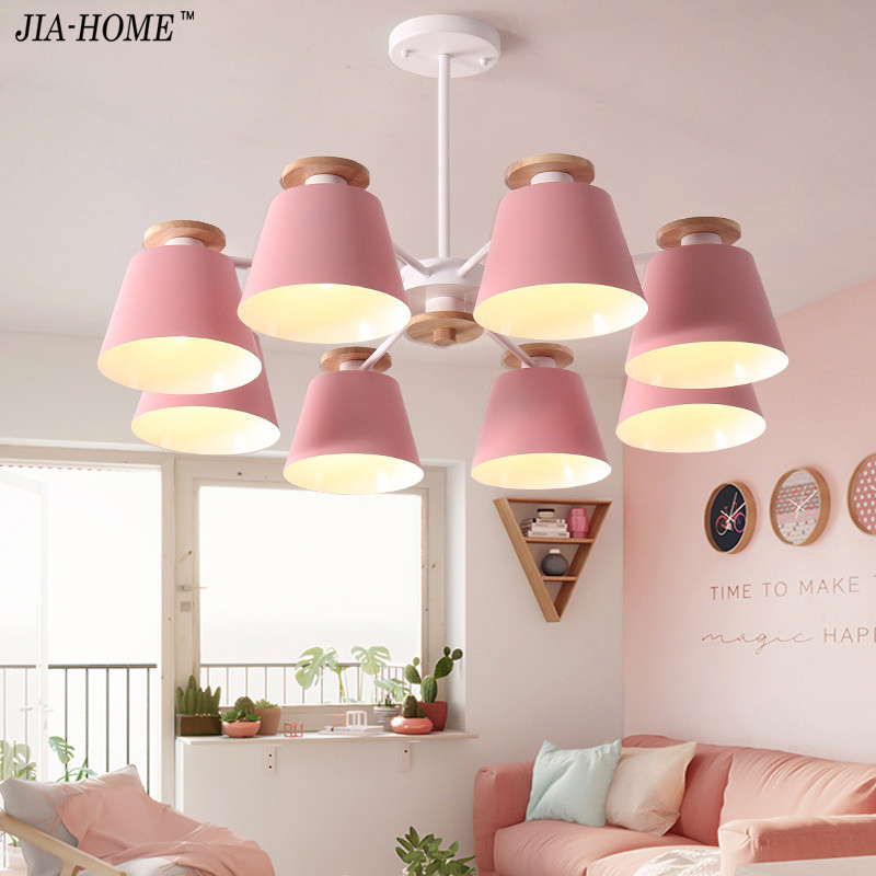 LED Chandeliers For Living Room bedroom Lighting grey/green/blue/yellow/pink body Wooden Hanging Light Lampshade Kitchen Lights
