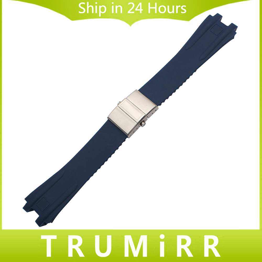 Silicone Rubber Watchband 26mm for UN EXECUTIVE 243 Men's Watch Band Steel Butterfly Buckle Strap Wrist Bracelet Blue Black silicone rubber watchband double side wearing strap for armani ar watch band wrist bracelet black blue red 21mm 22mm 23mm 24mm