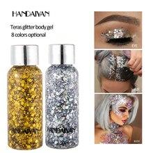 Блестящий гель для макияжа с блестками для лица и глаз, Профессиональная Косметика с серебряными блестками