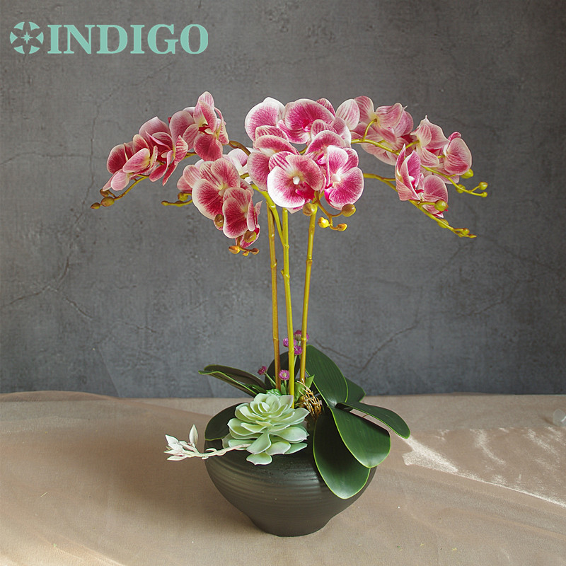 Chinese Style Orchid Flower Arrangment 3 Orchid 3 leaves 1Succulent 1 Dandelion Purple Real Touch Flower Free Shipping in Artificial Dried Flowers from Home Garden