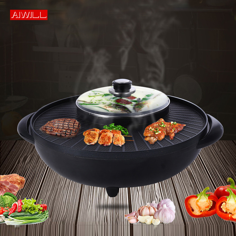 AIWILL BBQ Rookloze Elektrische Non stick Grill Pan Shabu Hot Pot 2 IN 1-in Pannen van Huis & Tuin op  Groep 1