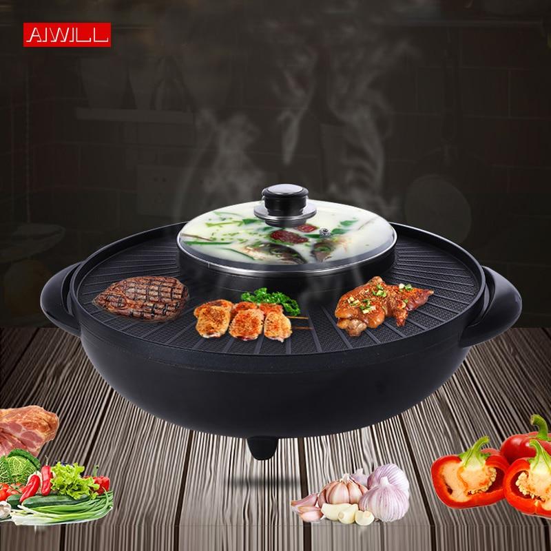 AIWILL BBQ Smokeless Electric Non-Stick Grill Pan Shabu  Hot Pot 2-IN-1