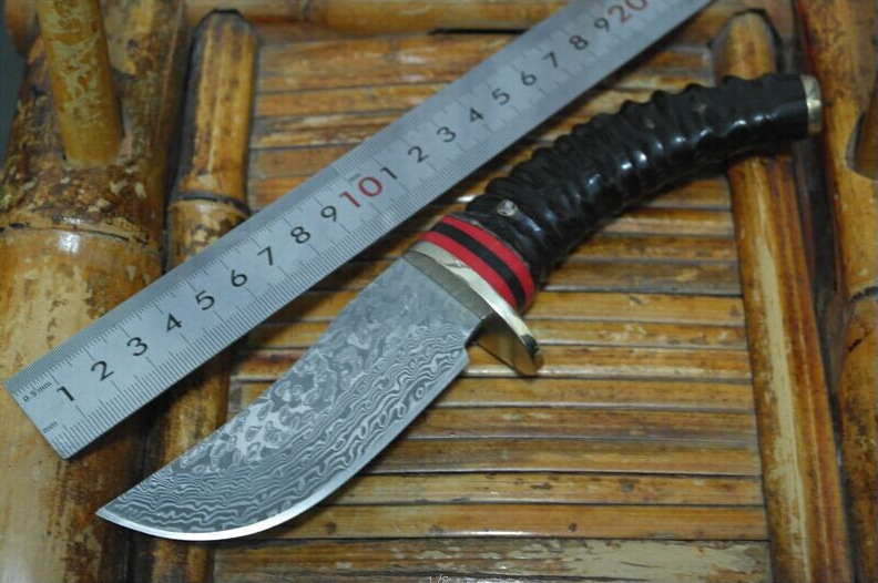 Damascus Steel hunting knife fixed blade outdoor camping knife with Wild cavel handle straight  knife survived free shipping damascus straight knife sharp outdoor camping tool with wooden handle the rose tattoo small hunting knife