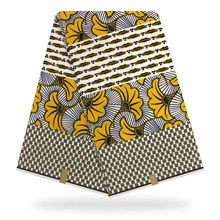 High Quality White Yellow Ankara Wax Prints African Fabric 6yards Lot YBGHL-382
