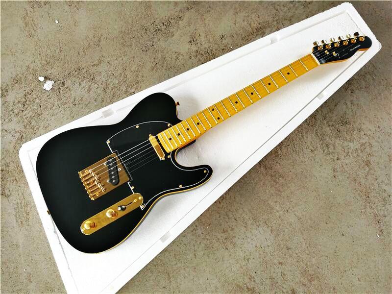 top quality gytl 2035 matte black with gold hardware maple fretboard beautiful telecaster guitar. Black Bedroom Furniture Sets. Home Design Ideas