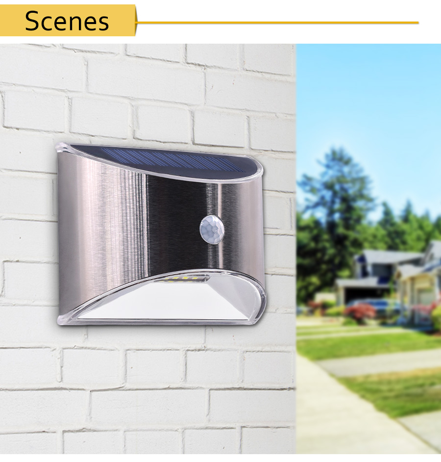 Waterproof Solar Outdoor Light with 4 LED and Motion Sensor Powered by Sunlight for Garden and Garage 11
