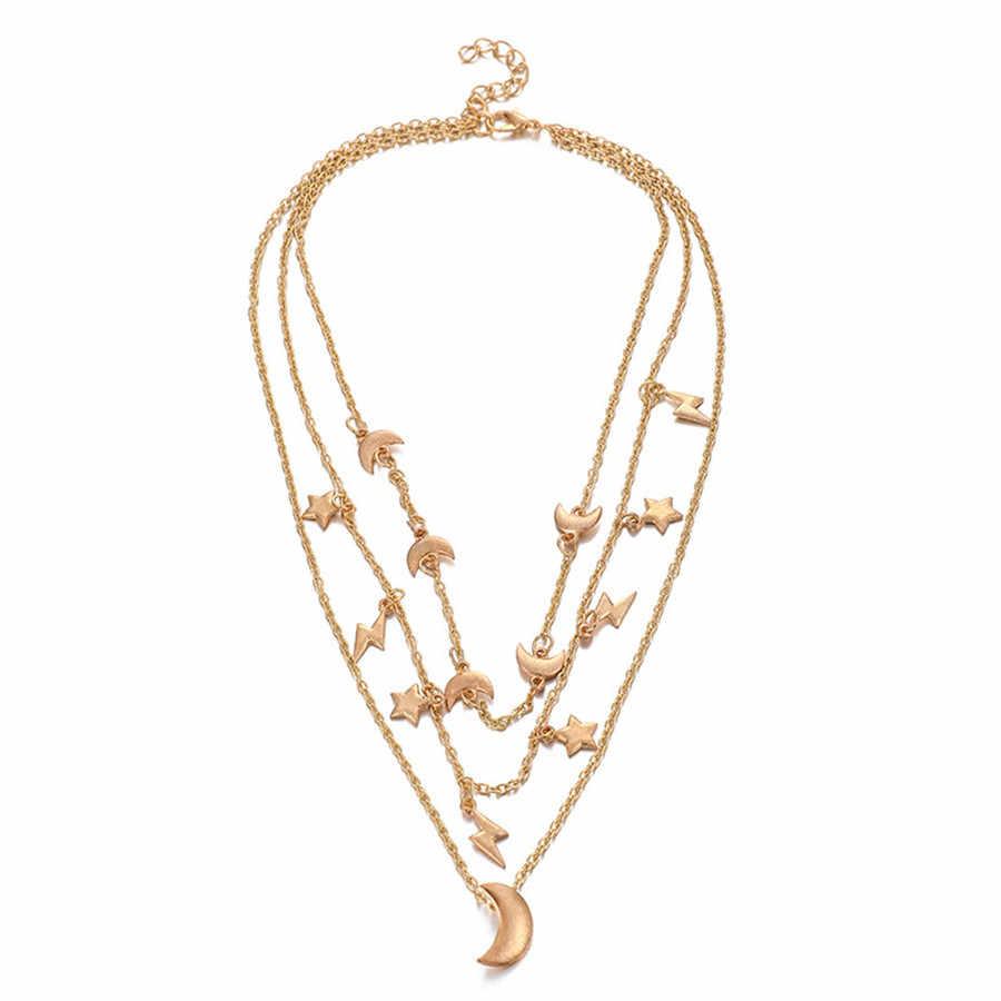 Minuscule étoile lune collier ras du cou pour les femmes indien bohème bijoux couches or chaînes collier pendentif Vintage accessoires 2019
