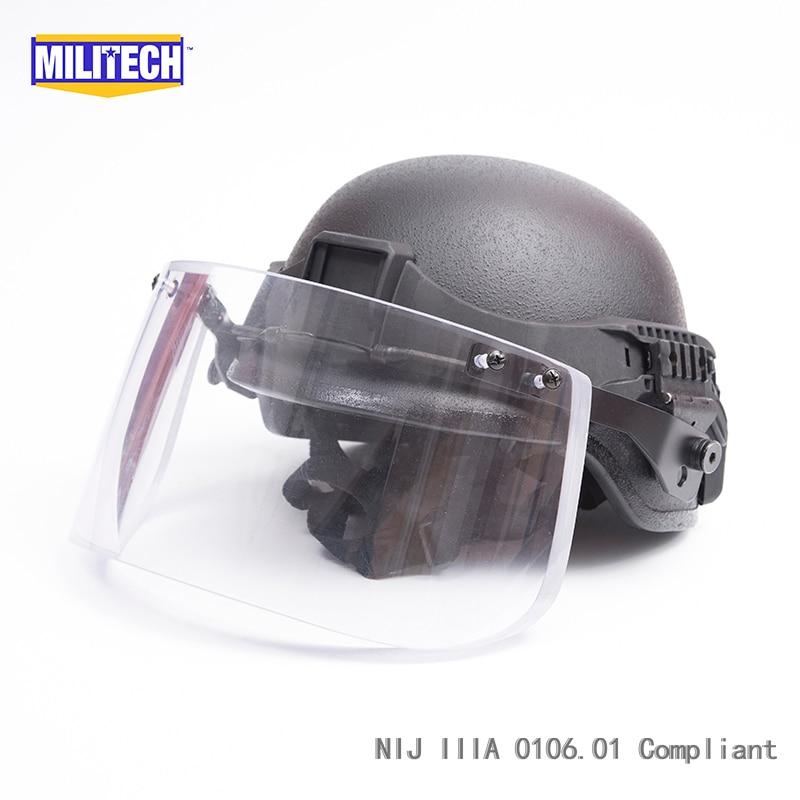 MILITECH Black BK PASGT Full Cut Tactical Ballistic Helmet With Visor Shield Face Protection Set Deal Aramid Bullet Proof Helmet