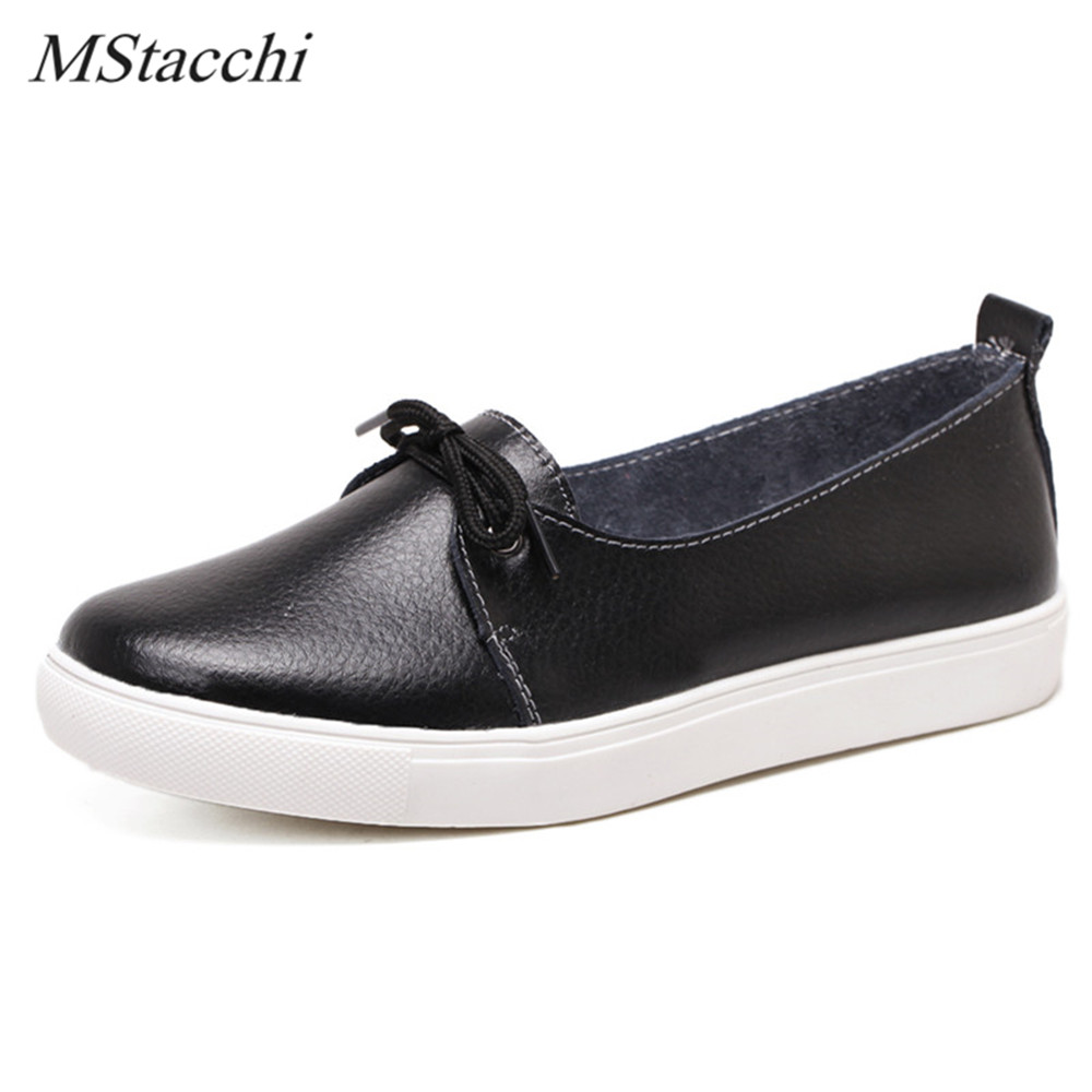 Mstacchi New Style Women Flats Shoes Round Toe Lace-up Causal Shoes Woman Real Leather Soft Loafers Flats Non-Slip Working Shoes odetina 2017 new designer lace up ballerina flats fashion women spring pointed toe shoes ladies cross straps soft flats non slip