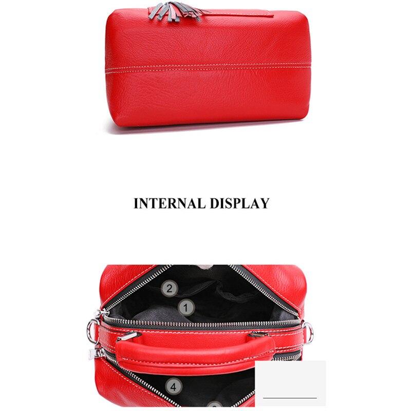 The First Layer of Leather Boston Bag Female Messenger Bag Leather Handbag Tassel Shoulder Bag strap removable personality purse - 5