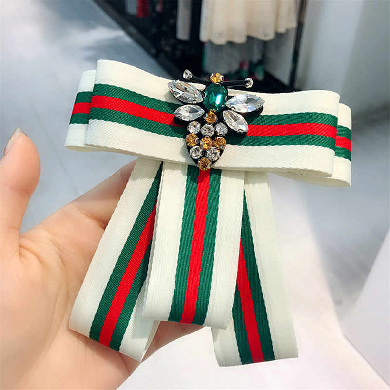... Korea Handmade Striped Academy Fabric Rhinestone Bee Shirt Pins Neck  Bow Tie Bowknot Accessories Fashion Jewelry ... 85325c3d9d1d