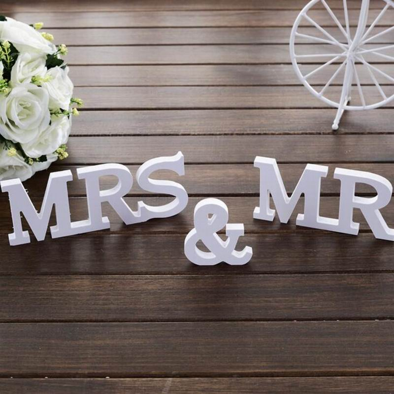 3 pcs/set Wedding Decorations Mr & Mrs Mariage marry Decor Birthday Party Decorations White Letters Wedding Sign Hot