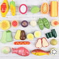 Popular Classic Toys Pretend Play Wood Toys Wooden Play Fruit and Vegetables Kitchen Toys Simulation Magnet Sheet Sells Well