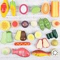 Popular classic toys pretend play madeira toys play toys simulação de frutas e legumes cozinha de madeira ímã folha vende bem