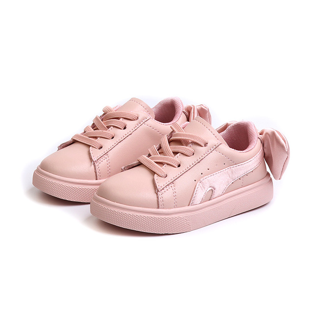 Autumn 2018 New girls shoes genuine leather Fashion bowknot kids casual shoes sneakers 1-6 years old Non-slip Super soft Girl's Shoes