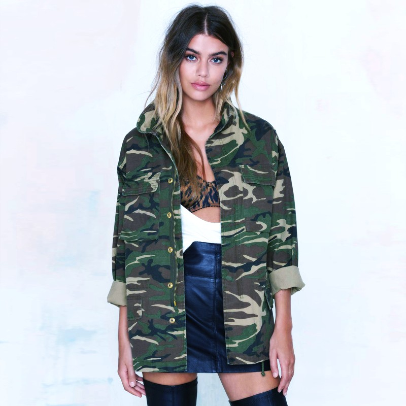 buy new military jacket women fashion camouflage veste militaire femme women. Black Bedroom Furniture Sets. Home Design Ideas