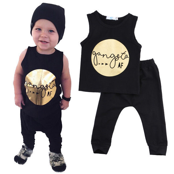 Gold Black Summer Sleeveless Newborn Toddler Infant Clothing Cool