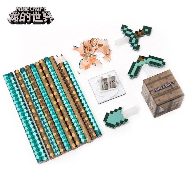 2018 Minecraft Toys Peripheral Kit Student Stationery HB Pencil Diamond Sword Gift кошелек minecraft sword