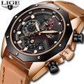 En este momento relojes para hombre marca de lujo de oro de cuarzo reloj de los hombres casuales de cuero impermeable militar deporte reloj de pulsera reloj Masculino