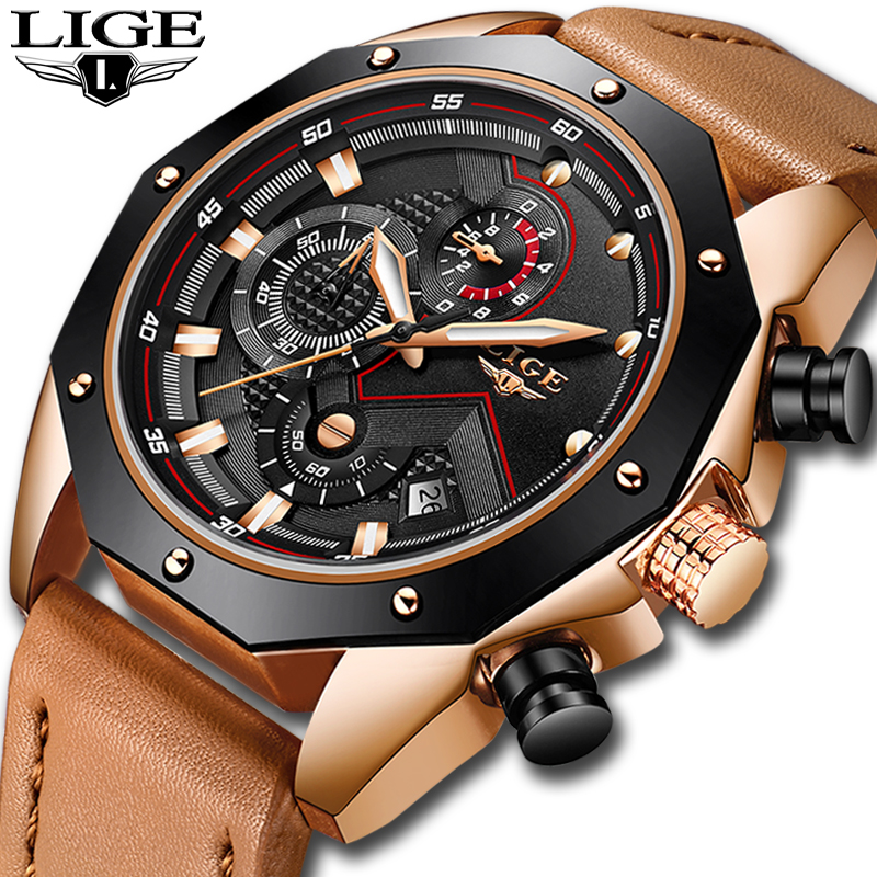 LIGE Mens Watches Top Brand Luxury Quartz Gold Watch Men Casual Leather Military Waterproof font b
