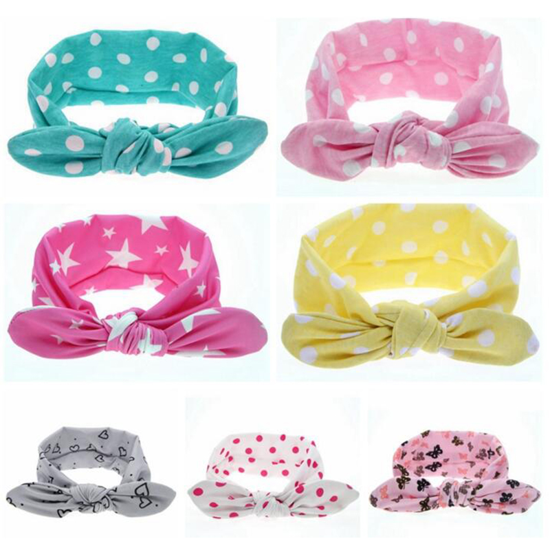TWDVS Newborn Rabbit Ears Headband Cotton Elastic Hair Band Kids Hair Accessories Turban Knot Headband Hair Accessories T0011 metting joura vintage bohemian ethnic solid satin fabric cross turban elastic headband hair accessories