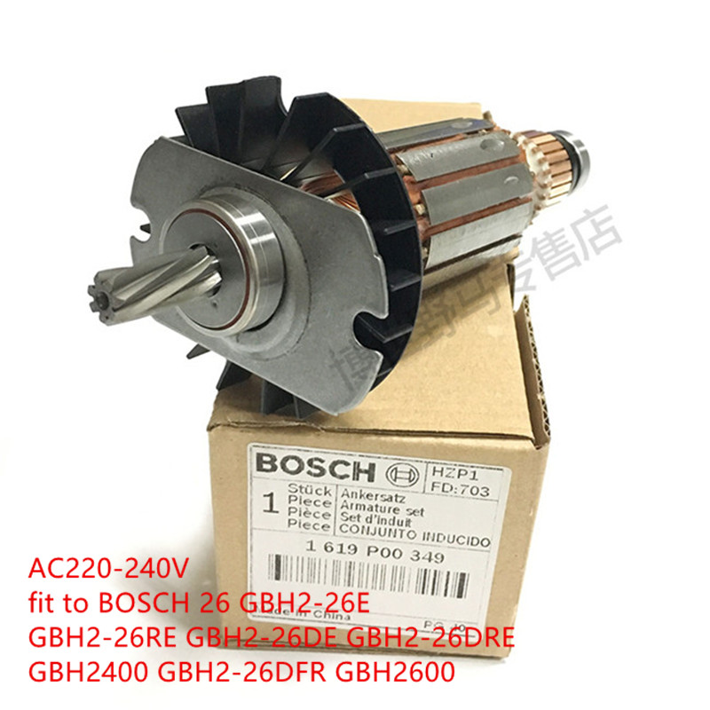 7 teeth Original Anchor Armature rotor for Bosch BOSCH 26 GBH2-26E GBH2-26RE GBH2-26DE GBH2-26DRE GBH2400 GBH2-26DFR GBH2600 high quality replacement boutique cylinder sleeve for bosch gbh2 28 gbh2 28dfv electric hammer installed accessories