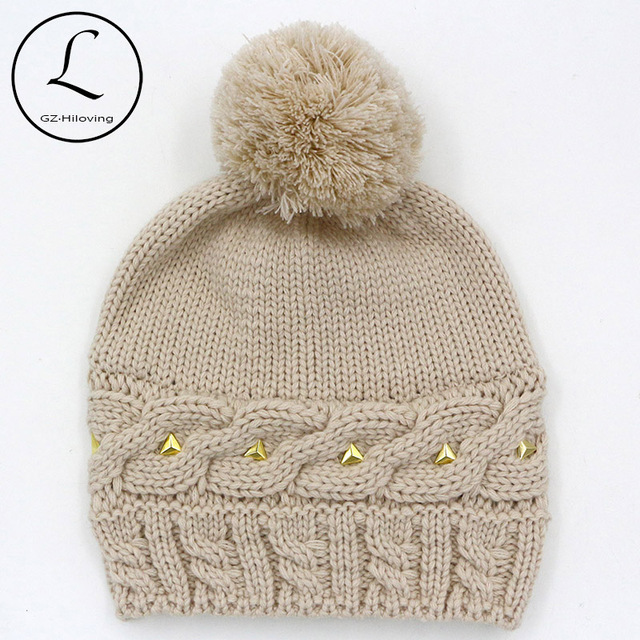 2016 Hat With Metal Decorate Women's Hats Beanies Acrylic Wool Hat Womens Winter Hats With Knitted Pom Pom Skullies And Beanies