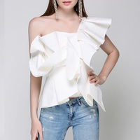 2019 Summer New fashion One Shoulder Ruffles Top Blouse Womens Off Shoulder Sleeveless Cool Summer Blouse Female Blusas