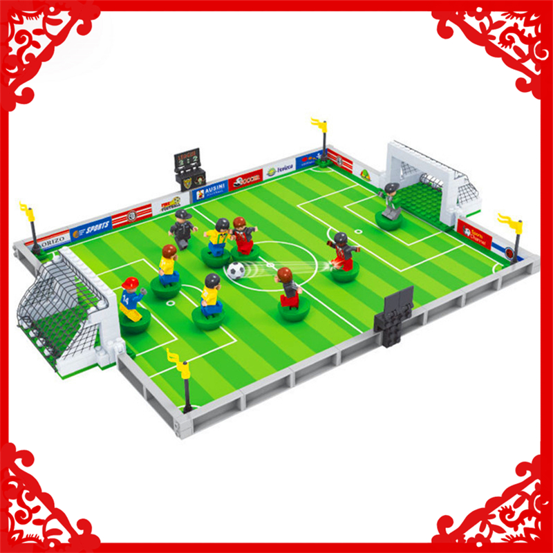 LEPIN WC076 251Pcs Bricks Building Blocks City Football Field World Cup DIY Action Educational Assemble Toy Gifts For Kids ausini 251pcs 2014 brazil world cup football soccer stadium minifig 3d diy action figures building blocks bricks gifts toys