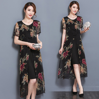 Summer New Short Sleeved Fake Two Pieces Chiffon Dress Chinese Style Retro Dresses Plus Size Women