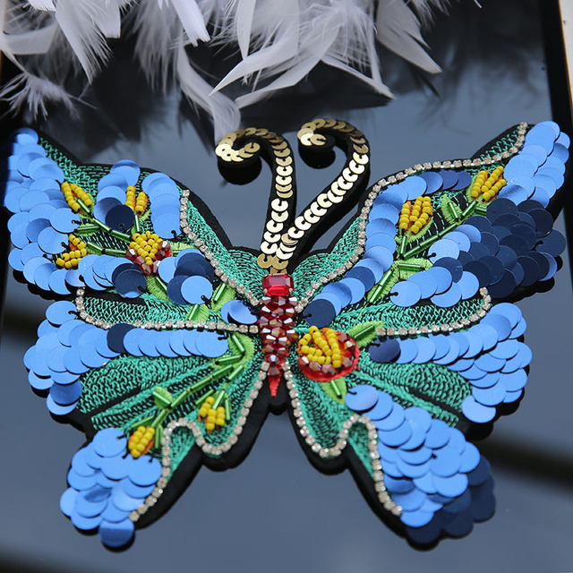 Manual Butterfly Crystal Rhinestone Applique Sequins Patches For