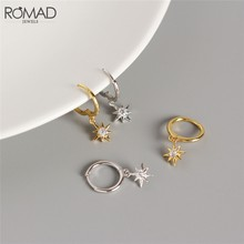 ROMAD Gold Color Hoop Earrings for Women Girls Zircon Star Drop Earrings 925 Sterling Silver Huggie Earings Jewelry Gifts R50(China)