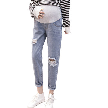 New maternity jeans clothes for pregnant women pregnant stomach lift pants Korean version of the hole jeans loose pregnancy jean 2018 summer ripped hole pockets maternity overalls loose adjustable bib pants clothes for pregnant women pregnancy jeans jumpsui