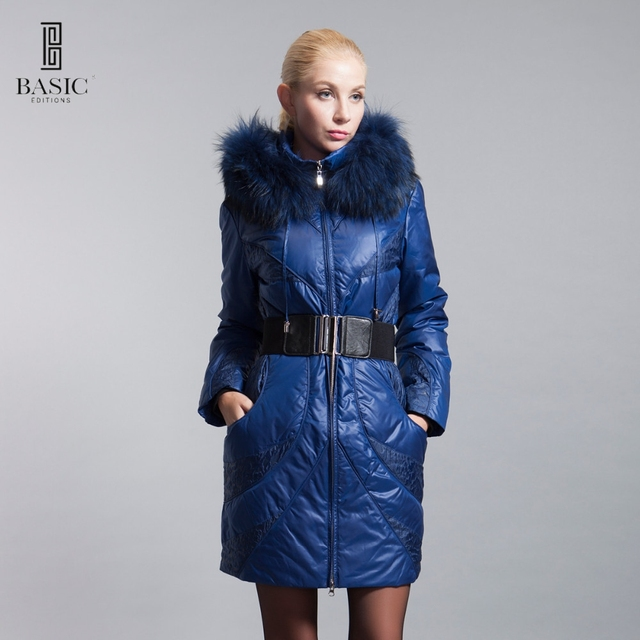7f3be6427f7 BASIC-EDITIONS Winter Extra Large Fur Collar Down Coat White Duck Feather  Women's Down Jacket ZY12069 Free Shipping