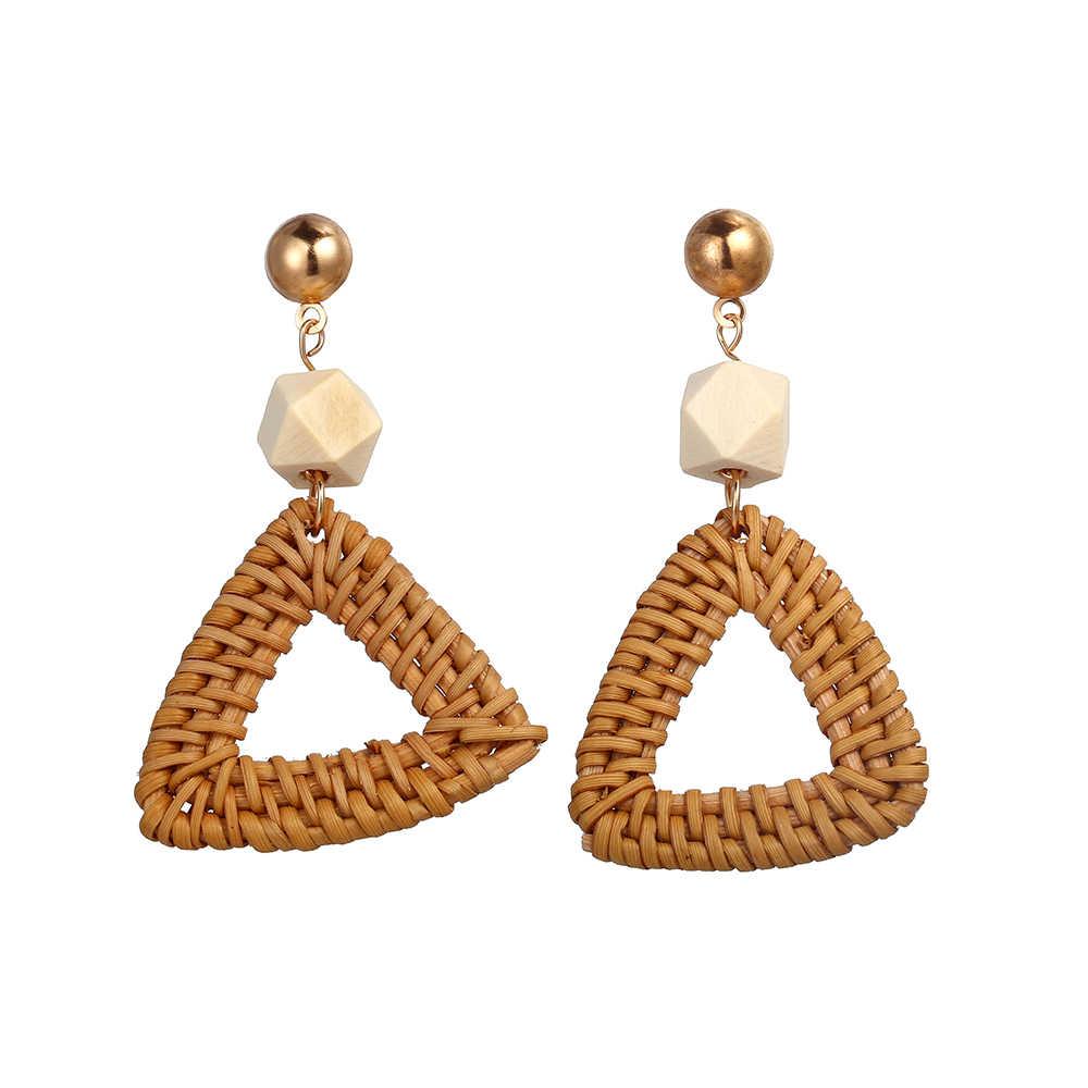 17KM Handmade Geometric Rattan Weave Chandelier Earrings For Women Round Square Triangle Drop Dangle Earring Party Gifts 2018