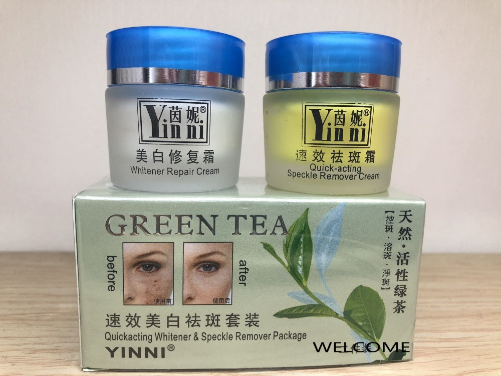 Image 2 - Free Shipping YINNI Green tea anti freckle skin care whitening cream for face 2 in1 remove pigment in 10 days Russia Versionpigment glitterpigment ink for hppigment paper -