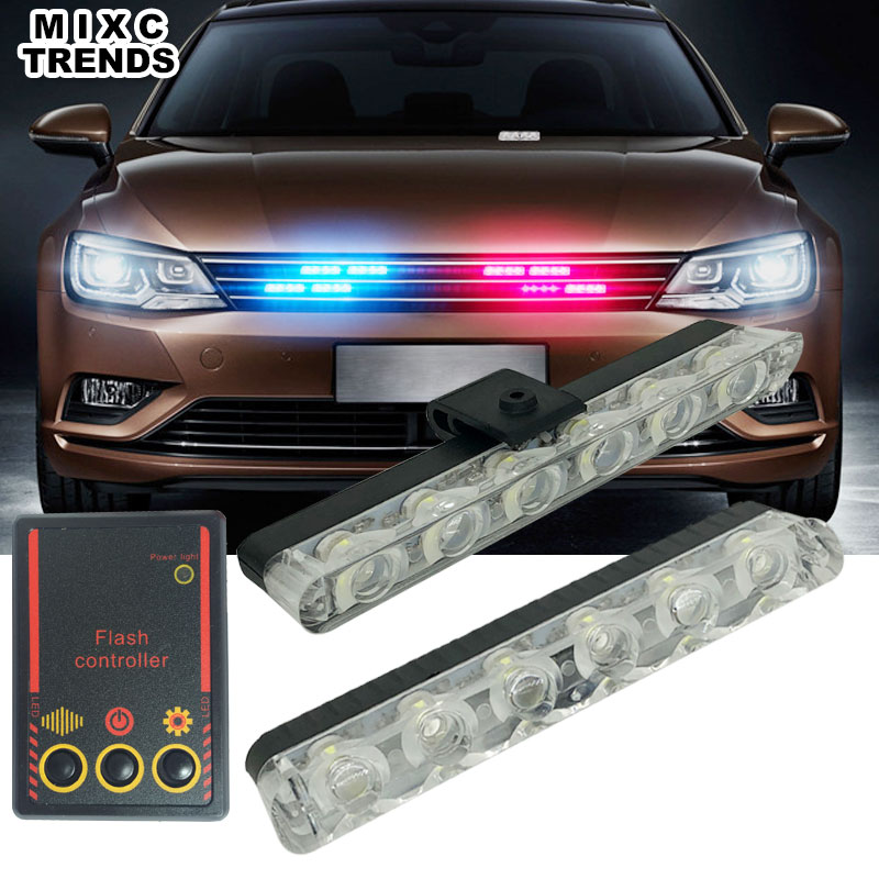 MIXC TRENDS New 12W Super power 2X6 LED Strobe Police Light Bar 12V Car Work day Light Ambulance Emergency Flasher Warning light