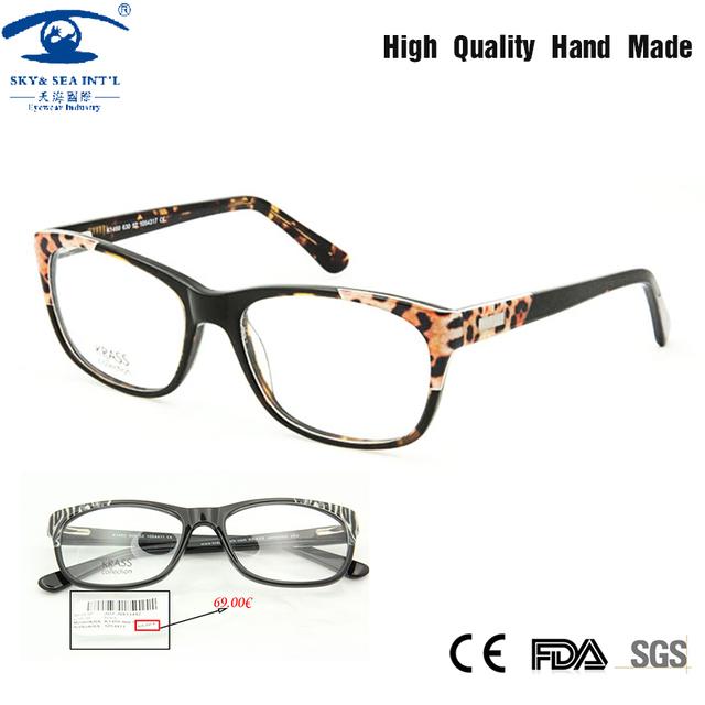 Sexy Leopardo Mulheres Óculos Oculos de grau Frame Ótico de Acetato de Moda Óculos de Forma Clara Óculos de Prescrição Rx
