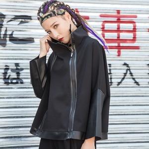 Image 2 - מקסימום לולו סתיו אופנה קוריאני סגנון גבירותיי פאנק Streetwear נשים שחור עור טלאי מעיל רוכסן בציר גולף מעיל