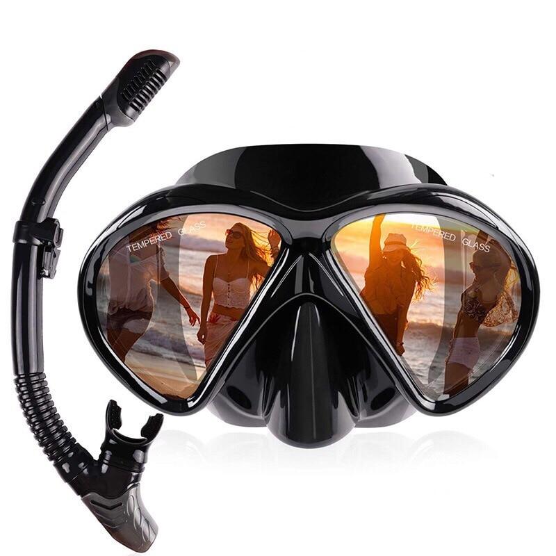 2019 Professional Scuba Diving Mask Silicone Mask Snorkel Anti-fog Diving Mask Snorkel Full Dry Tube Underwater Swim Equipment