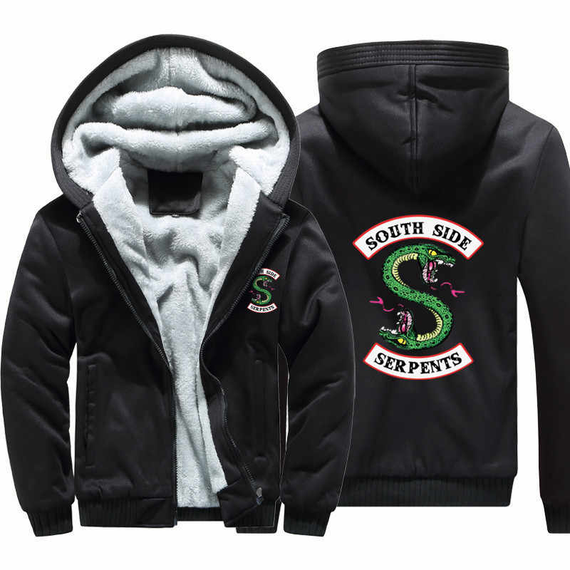 Winter Fleece Thicken Sweatshirt Men Brand High Quality Jackets Coat Men's Sweatshirt South Side Serpents Hoodie fashion Print
