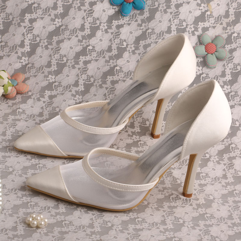 ФОТО Summer Fashionable Pointed Toe Shoes Wedding Ivory Stiletto Heel Dropshipping