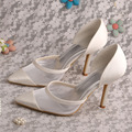 Summer Fashionable Pointed Toe Shoes Wedding Ivory Stiletto Heel Dropshipping