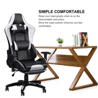 Hot Racing Gaming Office Chair Computer Desk 360 Degree Chair Adjustable Seat & Armrests Height Backrest Recline Retractable Leg