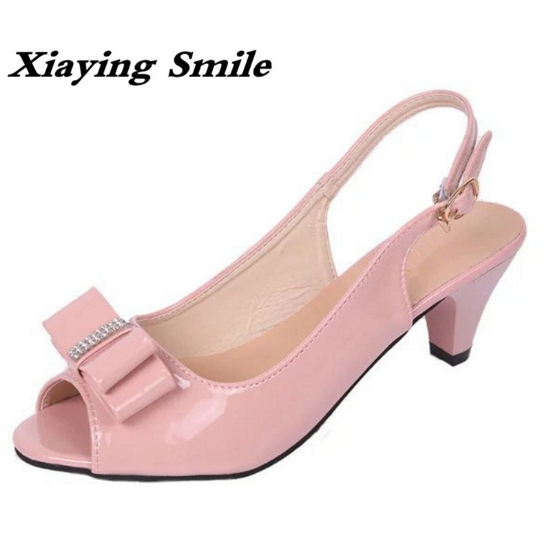 Xiaying Smile New Summer Woman Sandals Spike Heels Women Pumps Bowtie Buckle Shoes Casual Ladies Sweet Candy Colors Women Shoes xiaying smile summer woman sandals platform wedges women pumps buckle strap fashion casual flock lady bling crystal women shoes