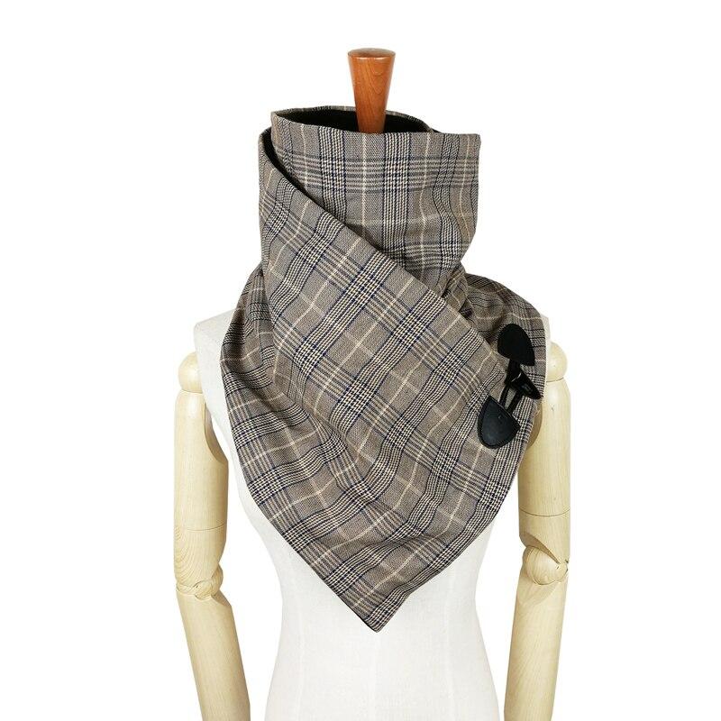 Nouvelle écharpe unisexe plaid laine coton hiver femmes hommes écharpe mode cou wrap écharpes corne fermeture à bascule.