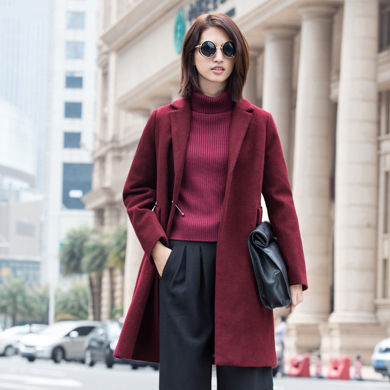Amii Casual Women Woolen Coat 2017 Winter Wide-waisted Single Button Wool Blends