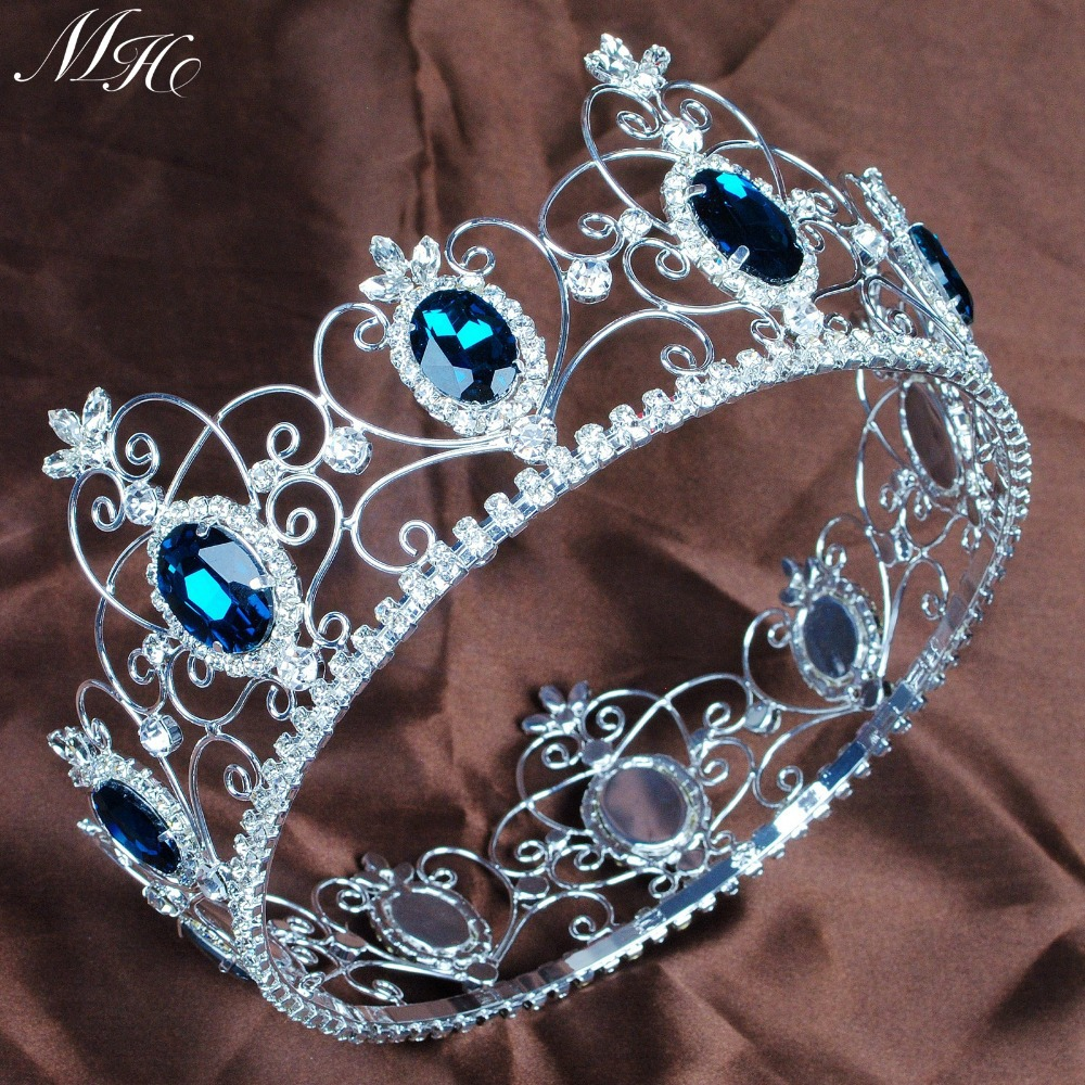Crowns full circle round tiaras rhinestones crystal wedding bridal - Aliexpress Com Buy Pageant 3 5 Full Circle Tiara Blue Crystal Crown Semi Precious Stone Headband King Queen Wedding Party Costumes Art Deco From Reliable