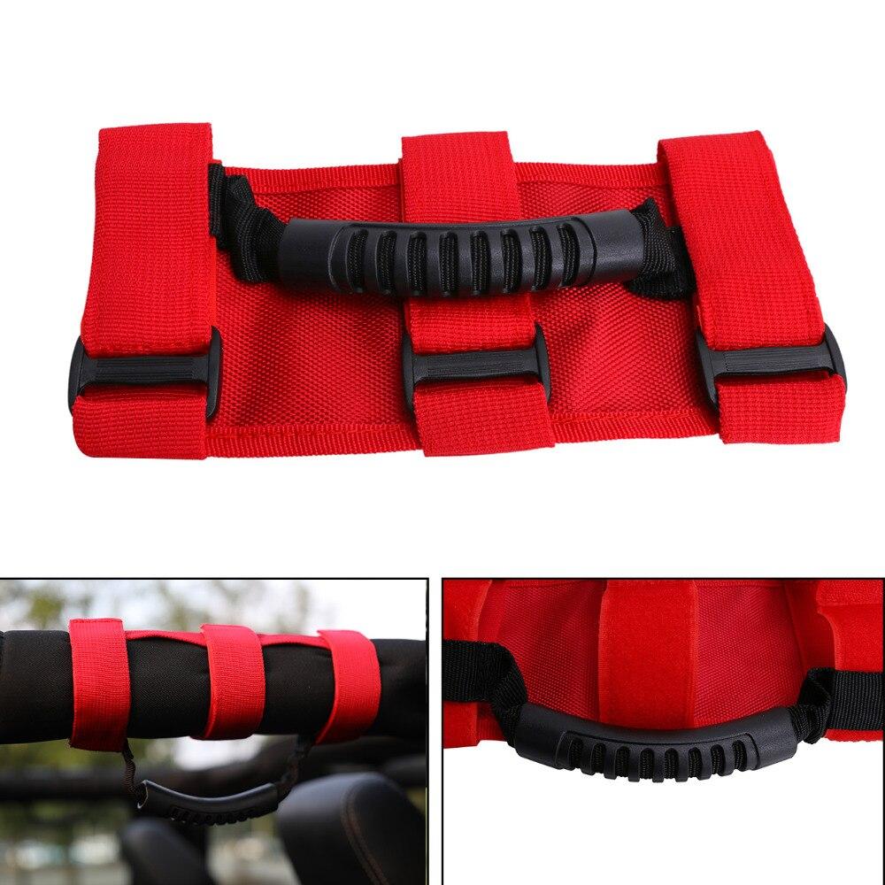 1 Pair Roll Bar Grab Handle Strap On Handle Black for Jeep Wrangler YJ TJ JK SUV